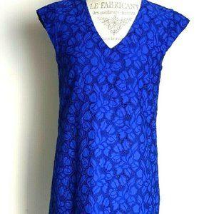 J Crew Blue Lace V Neck Shift Dress 8 Petite EUC